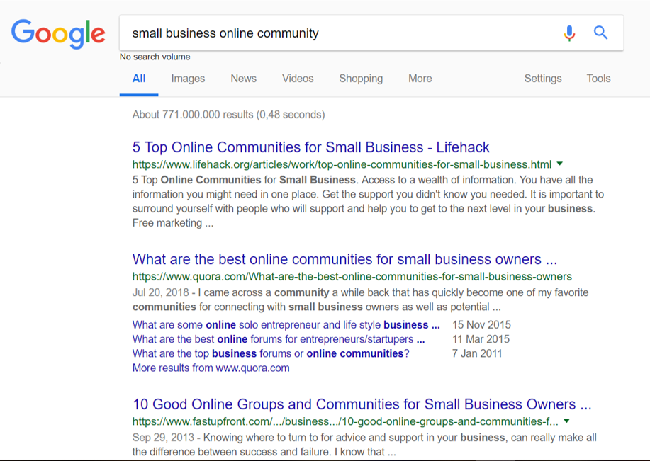 Small business online community