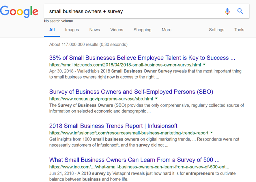 small business owners survey