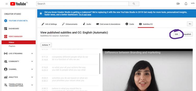 Edit subtitles