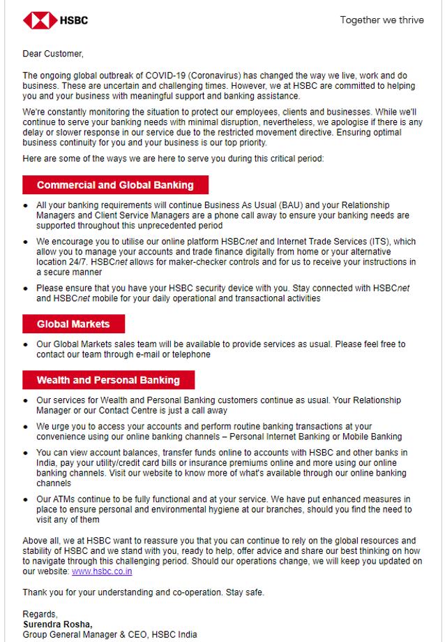 HSBC email covid-19