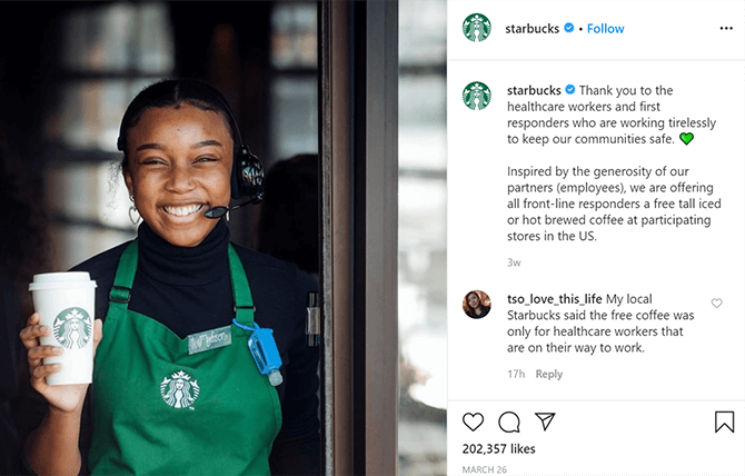 Starbucks brand campaign coronavirus marketing