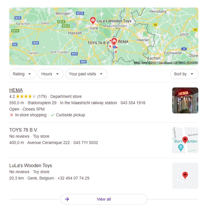 google keyword research stores
