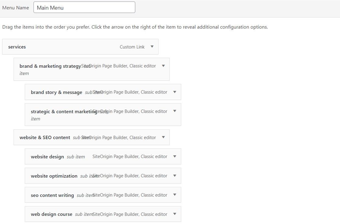 site structure wordpress menu