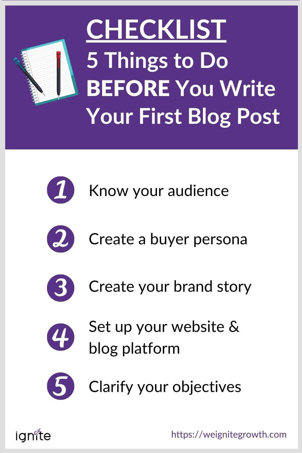 CHECKLIST 5 Things to Do BEFORE You Write Your First Blog Post