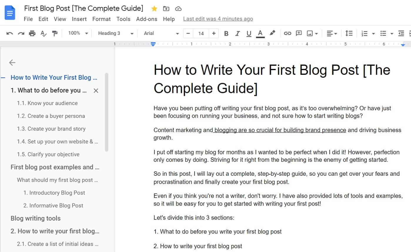 Example -How to create the first blog post structure with Google Docs