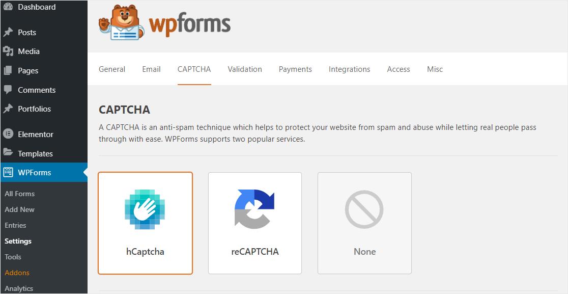 wpforms hcaptcha