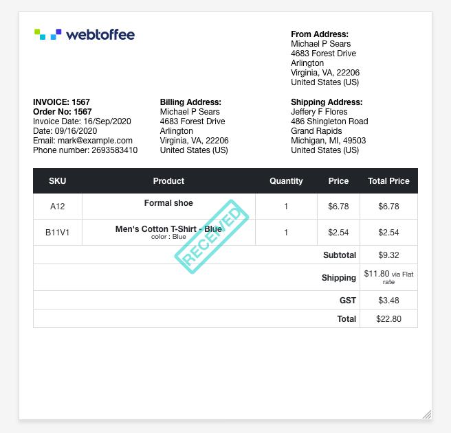 woocommerce invoice