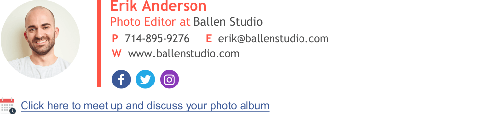 email signature with website url