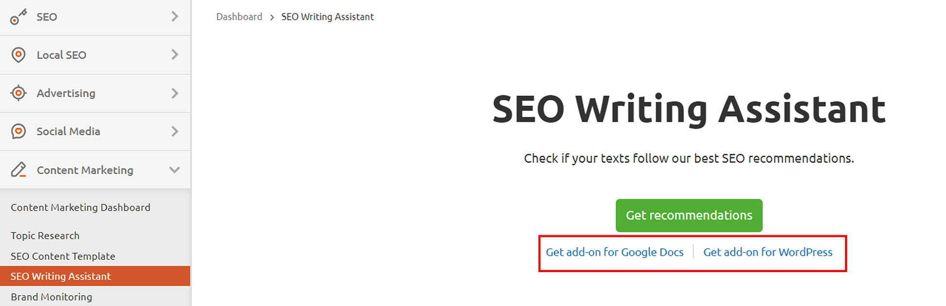 seo writing assistant add-ons